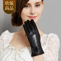 Plus velvet women's sheepskin gloves autumn and winter thermal genuine leather gloves female st6092