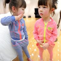 Zipper Sports & Leisure Suit 2014 children's autumn clothing girl comfortable color sports casual child set