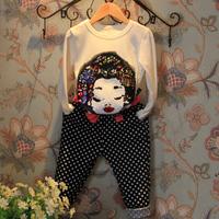 Sequins girl paillette long-sleeve T-shirt dot high waist trousers set Children's clothing 2014 autumn child baby two pcs set