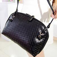 2014 elegant women's knitting grain messenger bags sweet 5 candy colors leather crossbody handbags for lady SB2005