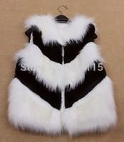 Stripe color artificial  fur vest short design