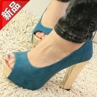 High-heeled shoes open toe shoe platform paillette thick heels shoes