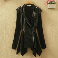 2014 women's autumn black PU design short outerwear long-sleeve slim small leather clothing medium-long female leather clothing