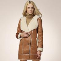 High quality in stock Fashion Slim Women Luxury Soft Lamb warm jacket for woman female long fur one piece Coat outwear H0402