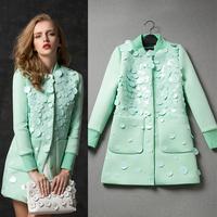 2014 autumn women's star handmade autumn Sequinned outerwear female medium-long jacket coat