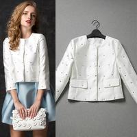 Fashion high quality 2014 women's fashion rhinestone beading coat  spring and autumn short design Jacket coat