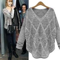 girl sweater autumn  winter  medium-long cutout pullover long-sleeve basic shirt sweater knitted sweater