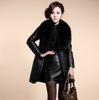 Large raccoon fur sheepskin leather plus cotton leather clothing outerwear women's overcoat