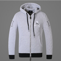 2014 new men's thick quilted men cultivating new skull embroidered hooded pullover sweater outside 100% cottonman hoody hoodies