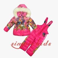 14 winter baby fashion down set boy ski suit set children snowsuit kids outdoor clothing set for winter baby down coat+jumpsuit