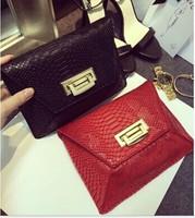 2014 crocodile pattern women's PU leather handbag messenger bag women's handbag day clutch bags evening bag red black