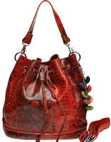 Elegant women's serpentine pattern first layer of cowhide messenger bags snake grain bucket shape crossbody handbags S0305
