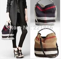 New b female bagMedium plaid canvas hobo bag one shoulder handbag fashion all canvas leather - match bucket women 's handbag