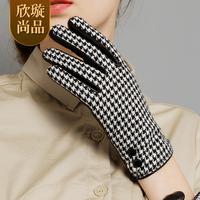 2014 genuine leather gloves female winter wool cashmere thermal thickening sheepskin gloves repair thin
