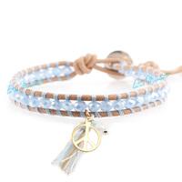 fashion 2014 leather bracelets light blue purple crystal pendant knitted single-circle self-shade bracelet seven color bracelet