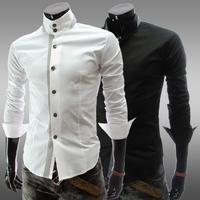 2014 new Men's Slim Luxury Stylish Casual Shirts Men's leisure Cotton shirt multi colors Black, white Plus size M-XXL