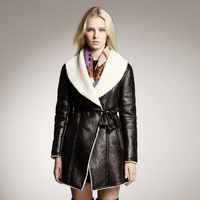 2014 women's fashion Russia style plus size vintage medium-long double-faced fur outerwear soft suede leather warm coat H0404