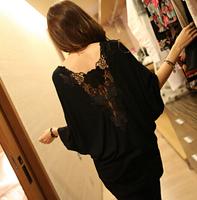 Plus size leather cutout behind lace racerback batwing sleeve basic shirt basic skirt