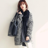 2014 new autumn and winter women's fashion personality mixed colors thick long-sleeved knit cardigan sweater free shipping