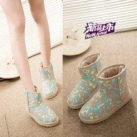 Winter snow boots flat heel platform genuine leather student scrub boots slip-resistant thermal waterproof female boots set