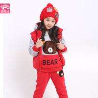 Children's clothing female child 2014 bear winter wadded jacket vest thermal thickening cartoon child three piece set