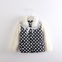 Hz-1350 female child faux polka dot PU patchwork plus velvet wadded jacket child cotton-padded jacket cotton-padded jacket