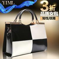 2014 women's handbag black and white color block japanned leather handbag shoulder bag cross-body fashion trend of the women's