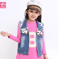 Children's clothing female child vest 2014 autumn skull pattern sleeveless top child vest