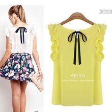 nuevo 2014 blusa de las mujeres camisa de gasa o- cuello jersey hoja de loto cordón envío gratis(China (Mainland))
