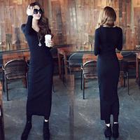 2014 plus size knitted long-sleeve elegant one-piece dress sexy basic skirt slim hip tight fitting full dress