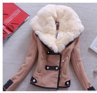 2014 осень зима женское пальто шерстяные пуховик Casacos Femininos Desigual кролика пальто Большой размер весна верхняя одежда пальто