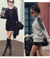 2014 leopard print patchwork elegant thermal long-sleeve loose batwing sleeve T  Sweatshirts