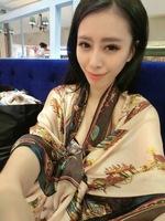 free shipping Fashion carriage silk scarf long design faux silk scarf cape female thin sunscreen beach towel