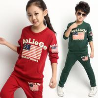Kids Clothes Sets Conjunto De Roupa Male Clothing 2014 Spring And Autumn Big Boy Sweatshirt Twinset Female Child Sports Set 8358
