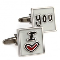 Promotions! Free shipping Valentine's gift I love you square French cufflinks, clothing accessories, wholesale