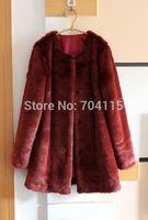 2014 maroon faux rabbit fur women's medium-long overcoat