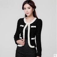 Fast/Free Shipping New 2014 Fashion Slim Long-sleeve Short All-match Beading Jackets Women Coat Jacket Autumn Overcoat B8950
