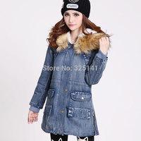 2014 HOT Women Lady Thicken Jean Winter Coat Denim Fleece Faux Fur Collar Parka Warm Jacket Overcoat Outwear