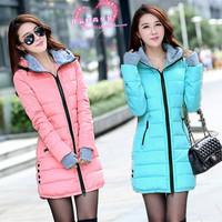 2014 winter women down cotton-padded jacket parka female medium-long slim hooded thicken wadded jacket coat plus size outerwear