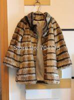 Luxury elegant 2014 horizontal stripe faux fur coat stand collar