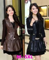 new 2014 Fashion diamonds long-sleeve o-neck women leather ol slim dress patchwork vest  twinset women plus size free shipping
