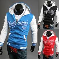 2014 fashion English letters printing hooded zipper fleece size M - XXL