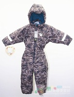 Child Camouflage one piece ski suit boys plus velvet thickening thermal one-piece fashion outdoor jacket