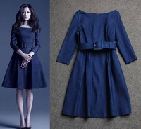 Fast/Free Shipping New 2014 Fashion O-neck Slim Denim Jeans Autumn Women Casual Dress With Belt Solid Ladies Dresses B991