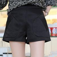 2014 autumn women's high waist slim plaid ladies solid color pressure pleated suit shorts female women pants