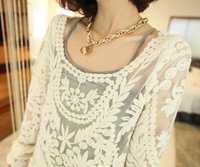 Sheer Blouse 2014 Fashion Women Clothing Tops Brand Style Crochet New Cute White Long Sleeve Hollow Out Embroidery Lace Elegant