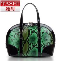 2014 women's genuine leather handbag fashion serpentine pattern japanned leather trend of the women's handbag messenger bag