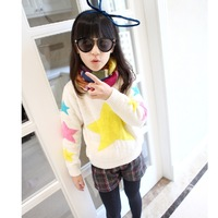 2014 Girls' wool yarn sweater thickening outerwear Kids' pullover sweater