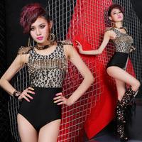 New Fashion Women's Sexy Black Leopard Print Rivets performance wear ds lead dance costumes