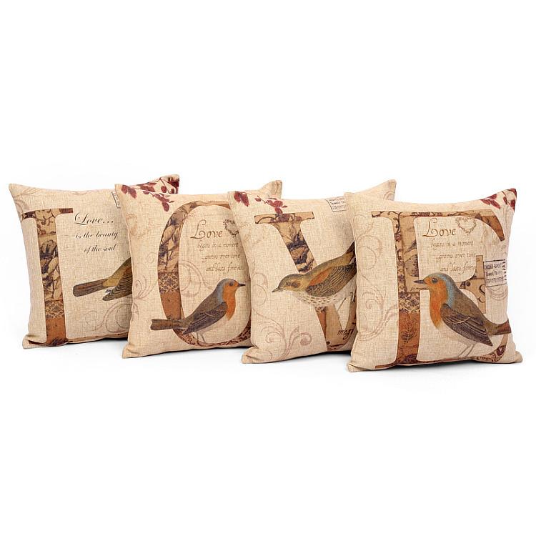 Amor impressão rústico capa de almofada de algodão e linho fluido puro material de 4 pçs/set 45 cm(China (Mainland))